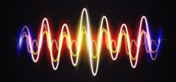 Neon waveform shiny music sign with flares Royalty Free Stock Photos
