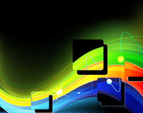 Neon waves. Bright glowing neon waves and lines royalty free illustration