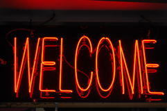 Neon Welcome Sign. A neon sign greets visitors with welcome Royalty Free Stock Photography