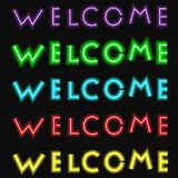 Neon welcome text set cursive style template vector. Neon welcome text set cursive style template Stock Photography