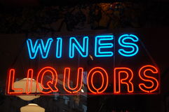 Neon Wines and Liquors Sign Stock Images