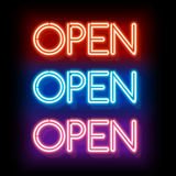 Neon word entry Open Royalty Free Stock Photos