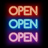 Neon word entry Open Royalty Free Stock Photos