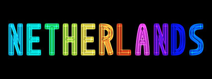 Neon word Netherlands in rainbow colors Royalty Free Stock Image