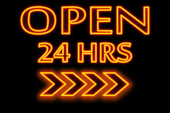 Neon words. Open 24 hours  words in neon and black background Stock Photo