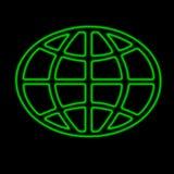 Neon world. World element neon green vector illustration