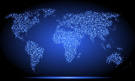 Neon world map Royalty Free Stock Photo