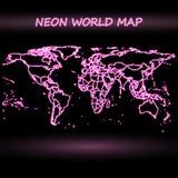Neon world map vector. Neon world map, dark design vector illustration Stock Images