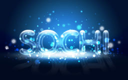 Neon Written  Sochi. Winter Olympic Games 2014. Stock Photography