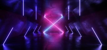 Free Neon X Shape Tube Lights Futuristic Sci Fi Glowing Purple Blue Vibrant Laser Beams Showroom Concrete Dark Empty Background Tunnel Royalty Free Stock Images - 157118999