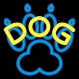 Neon Yellow Dog with a Neon Blue Dog Paw Royalty Free Stock Images