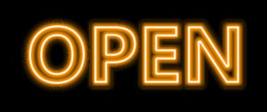 Neon yellow open sign. A yellow blue Neon sign which says open sign in blue with fluorescent light A neon open sign glowing blue in the window of a restaurant Stock Images