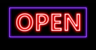Neon yellow open sign Stock Images