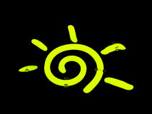 Neon yellow swirl sun sign Stock Photo
