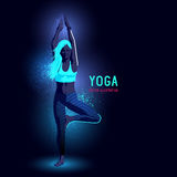 Neon Yoga Instructor Royalty Free Stock Photography
