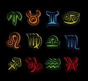Neon zodiac signs Stock Photo