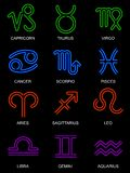 Neon zodiac signs Royalty Free Stock Image