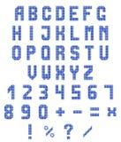 Neonalphabet und Zahlen auf einem weißen Hintergrund Blaue Neonsteigung Auch im corel abgehobenen Betrag Stockbild