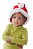 Neonata adorabile con il cappello rosso di natale immagini stock libere da diritti