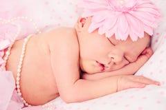 Neonata appena nata addormentata adorabile Fotografie Stock Libere da Diritti