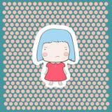 Neonata blu triste arrabbiata sveglia del fumetto dei capelli di Candy Immagini Stock