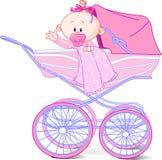 Neonata in carrello Immagine Stock