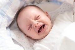 Neonata che grida in sua greppia fotografia stock