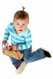Neonata con i giocattoli Fotografie Stock