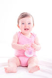Neonata con il biberon rosa Immagini Stock Libere da Diritti