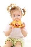 Neonata con pizza Immagine Stock