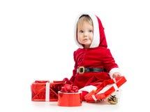 Neonata del Babbo Natale con il contenitore di regalo Fotografie Stock