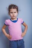 Neonata dell'aspetto europeo 6 anni di mani sopra Fotografie Stock
