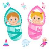 Neonata e neonato Vettore del fumetto su un fondo bianco Immagine Stock