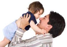 Neonata ed il suo papà Fotografie Stock
