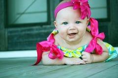 Neonata felice con il grande sorriso Fotografia Stock Libera da Diritti