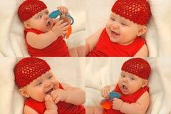 Neonata felice di dentizione Fotografia Stock