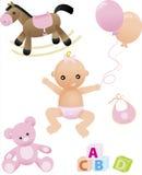 Neonata sveglia con i suoi giocattoli Immagine Stock