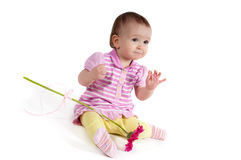 Neonata sveglia nel colore rosa Immagini Stock Libere da Diritti