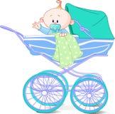 Neonato in carrello Immagine Stock