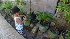 Neonato che impara laboratorio di sezionamento di giardinaggio con le pinze del giocattolo archivi video