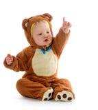 Neonato in costume dell'orso Fotografia Stock