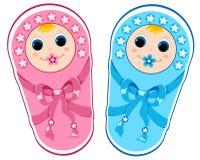 Neonato e neonata. Fotografia Stock