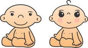 Neonato e ragazza Immagine Stock