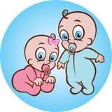 Neonato e ragazza felici Fotografie Stock Libere da Diritti