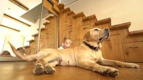 Neonato ed il suo animale domestico del cane del migliore amico che si trovano sul pavimento vicino allo specchio Colpo statico stock footage