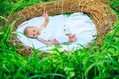 Neonato in greppia di vimini Impatti di trattamento di sterilità su salute del neonato Ecologia e salute La salute è fotografia stock libera da diritti