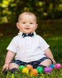 Neonato infantile sveglio che indossa un farfallino Immagine Stock Libera da Diritti