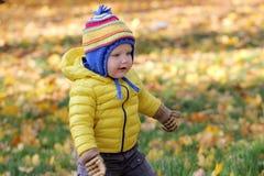 Neonato nel parco di autunno Fotografia Stock