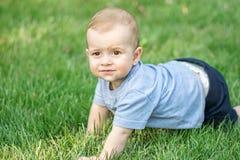 Neonato sveglio strisciante su erba verde all'aperto ad estate Fotografia Stock Libera da Diritti