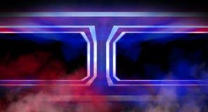 Neonbåge i ett mörkt tomt rum Rök neonljus framförande 3d stock illustrationer